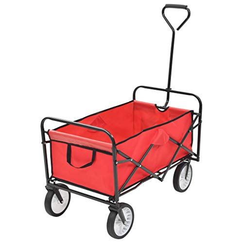 Festnight Carrito Plegable/Mano Carro/Carro para pícnic/Carrito de Jardín Plegable, Rojo 92 x 52 x 118 cm Carga Máxima 75 kg