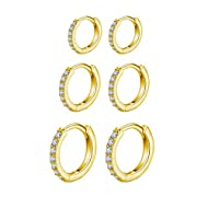 Gold Hoops Earrings for Women: AAA Cubic Zirconia design will absolutely be a wonderful addition to this small gold hoop earrings. Simple and Classical. Never go out of the style. Small Gold Hoop Earrings Material: Made of 925 Sterling Silver Post/9c...