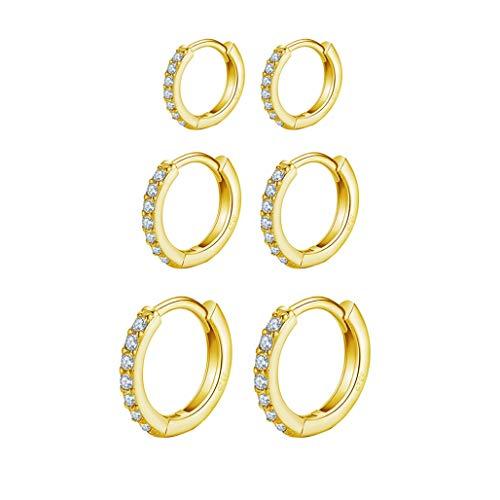 9ct Gold Plated Hoop Earrings, 925 Sterling Silver Post Small Gold Hoop Earrings with AAA Cubic Zirconia, 3 Pairs Hypoallergenic Small Sleeper Hoops Huggie Hinged Earrings (8/10/12mm)
