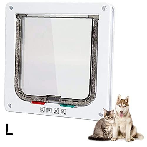 LjzlSxMF Gatera Pet Puerta de instalación Sencilla túnel del Gato Entrada Exclusiva Usado para Gatos Grandes de Perros pequeños Blanco L