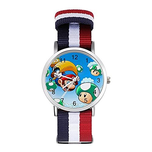 Reloj de ocio para adultos de moda ajustable con estilo espejo de cristal Shell Casual Deportes reloj de pulsera para hombres y mujeres para Super Mario adulto reloj de ocio