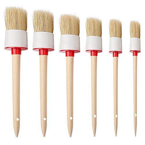 kuou Wachspinsel-Set, 6-teilig, Kreide-Pinsel, Decken-Pinsel, Wandpinsel, Möbel-Pinsel zum Malen, Wachsen, Heimdekoration