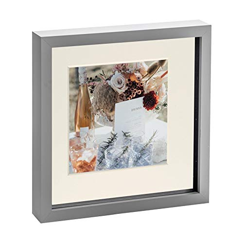 Nicola Spring 10 x 10 3D Shadow Box Photo Frame - Craft Display Picture Frame with 6 x 6 Mount - Glass Aperture - Grey/Ivory