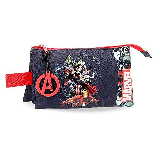 Marvel Los Vengadores Avengers Team Estuche Triple Azul 22x12x5 cms Poliéster