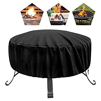 MCJS Outdoor Fire Pit Cover Round 34 inch Waterproof Firepit Cover, Heavy Duty Round Patio Fire Bowl Cover with Thick PVC Coating Outdoor Fireplace Cover Protective Fire Pit Accessory
