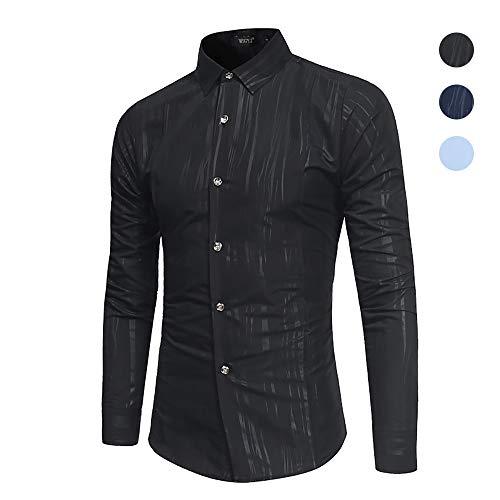 X&Armanis Revershemd für Herren, Dunkel bedrucktes Hemden aus Baumwollgemisch lässiges Business-Shirt (Herbst),1,XL