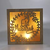 Gpzj Islam Holzlaterne Ramadan Dekorationen, Eid Mubarak Brief Dekor Muslim Moon Candle Light...