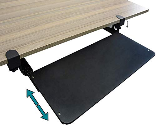 Nisorpa - Plataforma deslizante para teclado debajo del escritorio para teclado con abrazadera de montaje en bandeja extraíble para teclado y ratón