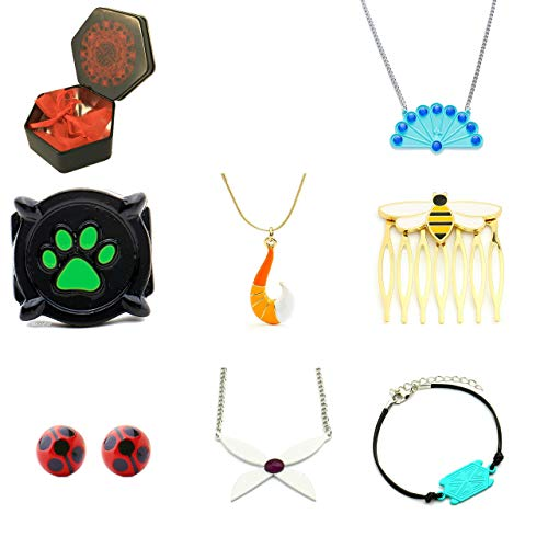 Miraculоus Box mit allen Miraculоus geeignet für Miraculous Costume Cat Noir Ring Marienkäfer Volpina Rena Rouge Halskette Queen Bee Kamm Schildkröte ...