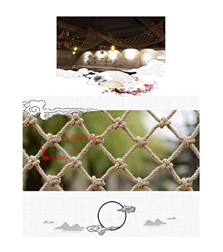 Valla de seguridad Cuerda de Red de Escalada Cuerda de Cáñamo Decoración de Red Red de Protección de Escaleras Balcón Anti-caída de Red Seguro For Niños Retro Barra de Techo Red Cuelgue La Red Hamaca,