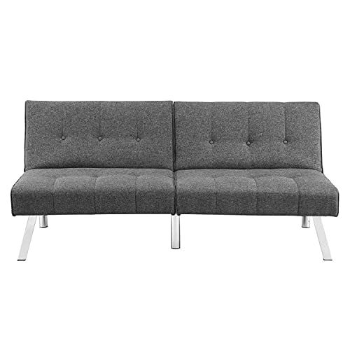 Sofa Bed, Convertible Futon Sofa with Sturdy Frame, Adjustable Sleeper Sofa for Living Room, Bedroom, Lounge, Dorm or Office, Light Grey