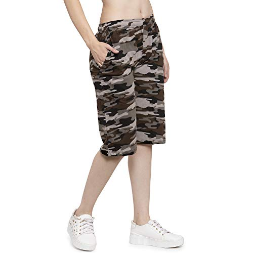 UZARUS Women's Girls Cotton Three Fourth Capri Shorts with Two Zippered Pockets Brown