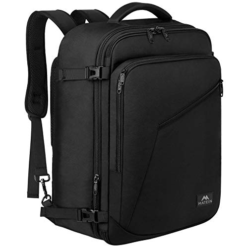 Matein Carry on Backpack, Extra Large Travel Backpack Expandable Airplane Approved Weekender Bag for Men and Women, Water Resistant Lightweight Daypack for Flight 40L, Black