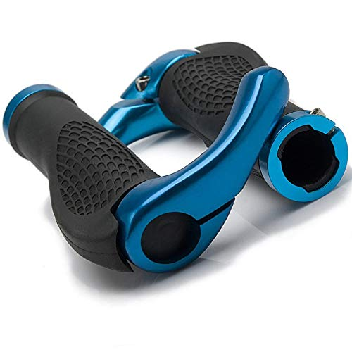 YFSEOS Fahrradgriff, Ergonomische Form, Horn Lenkergriffe für MTB, Trekkingrad, E-Bike, Cityrad Rennrad und Viele Mehr(22 mm Fahrrad Griffe) (Blau)