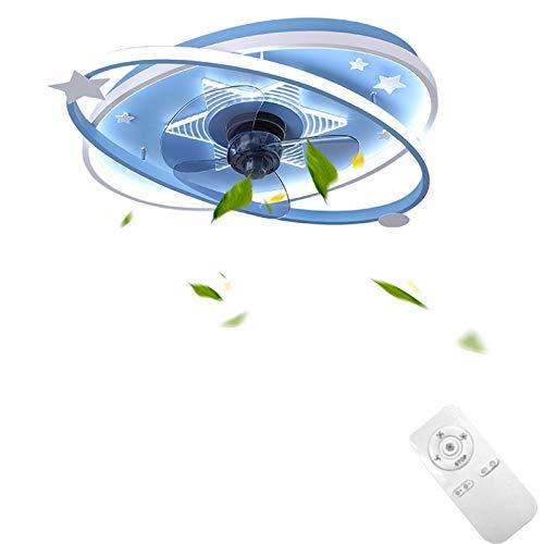 Ventilador De Techo con Luz Lámpara Silencioso Mando a Distancia 3 Velocidades Temporizador Regulable Dibujos Cuarto De Niños Decoración de Interiores Acrílico Hierro Azul LED VOMI
