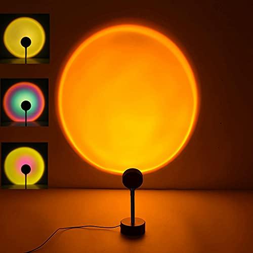 夕日ライト レインボーライト 日没ライト 投影ランプ サンセットライト 4in1 雰囲気作りランプ ベッドサイドランプ 360度回転 4色 虹ランプ 撮影ライト サークルライト スタンドLED アート感 雰囲気 間接照明 ムードライト USBに対応 夕焼け