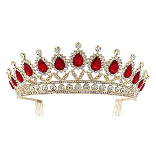 Lurrose - 1 pieza de brillantes para novia, corona grande con peine,...