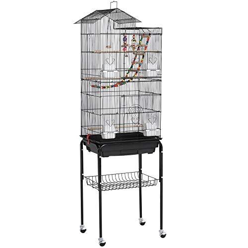 Yaheetech Vogelkäfig Wellensittich Kanarien Käfig mit Vogelspielzeug mit Ständer 158,5 cm