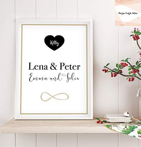 Familienposter personalisiert, Stammbaum Bild Poster A4 ohne Rahmen, Geschenk zum Einzug, Geschenkidee, Geschenke für Familie, schwarz gold