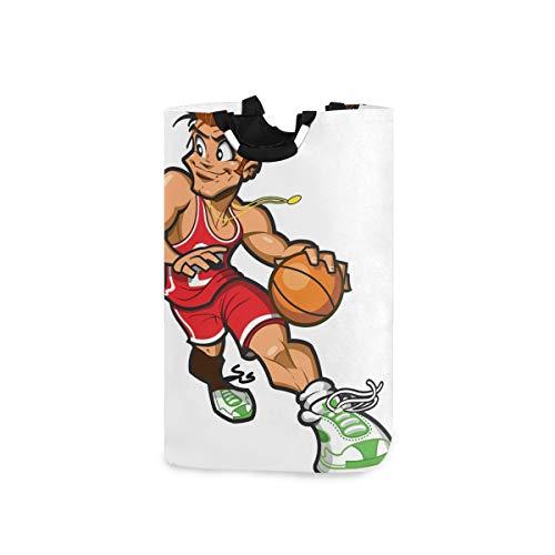 VORMOR Wäschesack Lächelnder kaukasischer Basketballspieler,der herum dribbelt Großer faltbarer Wäschekorb,zusammenklappbarer Wäschekorb,zusammenklappbarer Waschvorratsbehälter