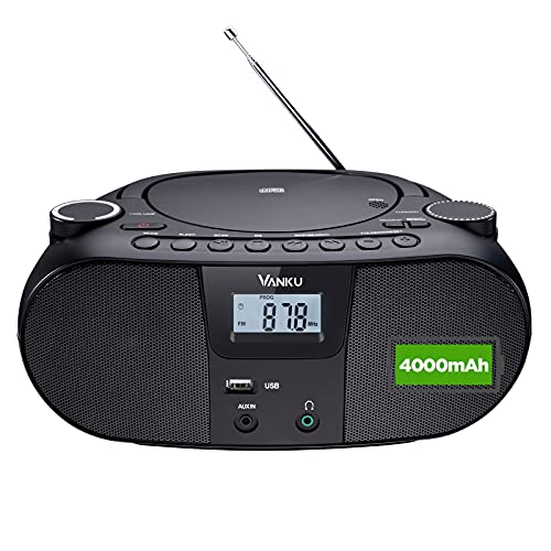 Vanku Radio Mit CD Player 4000 mAh Batterie Unterstützt Bluetooth 5.0, USB, MP3, FM, AUX-In, Sleep-Timer