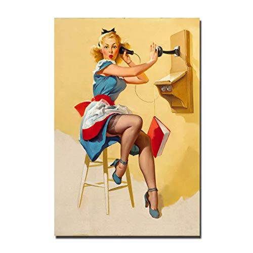 LIUXR Póster e Impresiones de Chica Sexy Pinup Pintura en Lienzo imágenes artísticas de Pared Impresas en Lienzo decoración del hogar Regalo de decoración -20x30 Pulgadas sin Marco 1 Piezas