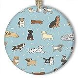 EaYanery Doodle - Adorno de hueso de perro (redondo) personalizado de cerámica para día festivo de Navidad 2019