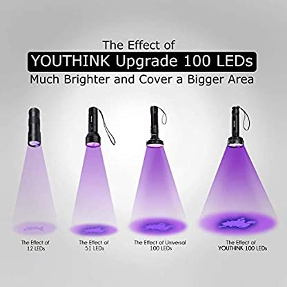 YOUTHINK 100LEDs Flashlight Pet/Dogs/Cats Urine Detector UV Black light to Check Stains, Scorpions, Currency Authenticate for Indoor&Outdoor Use 395 nm Ultraviolet Flashlight 8
