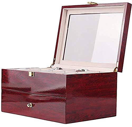 Hoge kwaliteit Stevige Houten Watch Box Organizer Houdt 20 Watch Box afsluitbare opbergbak vitrinekast Case Glass Cover L29xw21xh15 5 Cm, Mini Sieraden Box Organizer Faux Leather for Travel