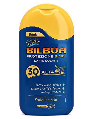 Bilboa, Bimbi Latte Solare Bambini con Protezione SPF 30 - Spray Senza Alcool - Formula Anti Sabbia, Resistente all Acqua e Anti Scottature - Dermatologicamente Testato - 200 ml