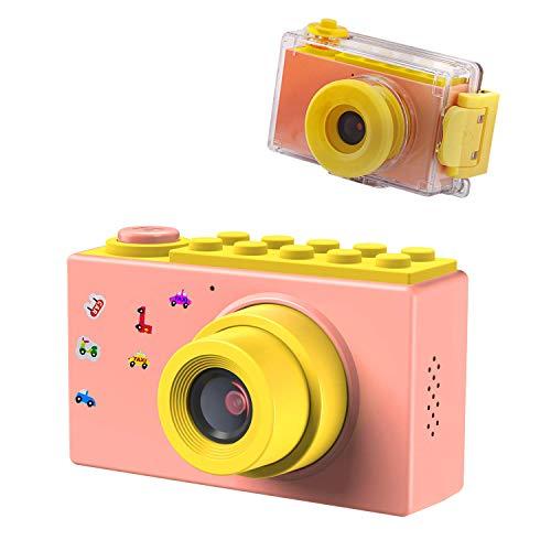 ShinePick Fotoapparat Kinder, Wasserdicht / 8MP / HD 1080P / 2 Inch Bildschirm / Foto & Video / Rahmen / Filter, Digitalkamera Kinder Kamera mit Speicherkarte, Geschenke für Kinder (Rosa)