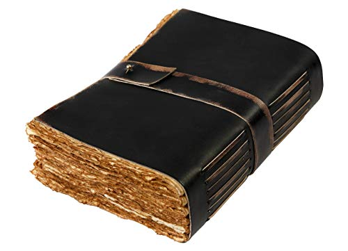 Leather Journal - Vintage Journal for Women Men - Book of Shadows -288 Pages Writing Journal - Antique Deckle Edge Handmade Paper of 200 GSM- 8 inches X 6 inches