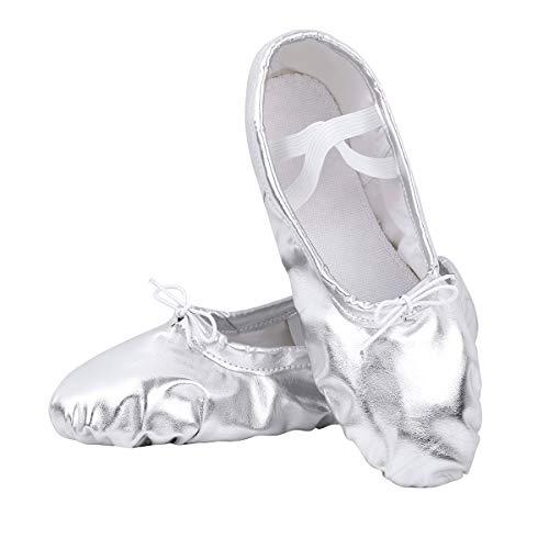 TiaoBug Zapatillas de Danza Ballet Mujeres Ni;as Zapatos Clásico Suela Partida para Bailarinas Fitkids Calzados Deportivo de Baile Gimnástica Rítmica Plateado 37-38