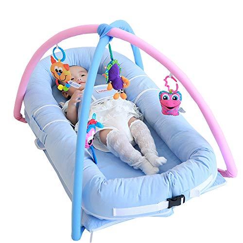 Buxuxbue Babynestchen Kokon Nest Kokon Kuschelbett Kopfschutz Nest Tragbare Schlafkorb Baby Reise Bequeme Lagerung 35.4 * 19.7 Inch,Blue