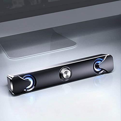 Loijon V110 Speaker Bar Alto-falantes para computador com luz LED Cabo de áudio 3,5 mm Computador com fio Barra som USB Powered Mini Soundbar Alto-falante para TV PC Celular Tablets Desktop Laptop