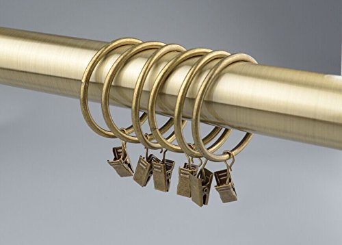 14 Duschvorhang-Ringe, mit Klammern & Haken, 50 mm Bronze Antique