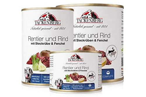 Tackenberg Hundefutter, Nassfutter für Hunde (Rentier + Rind + Steckrübe + Fenchel), getreidefrei