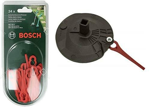 Bosch Art 26 Accutrim, Art 26 EasyTrim Accu, Art 26-Li Rasentrimmer, rote Klingen (24 No) + Bosch schwarze Trennscheiben-Set mit Stanley Keytape
