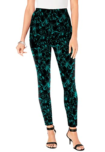 Roamans Women's Plus Size Ankle-Length Essential Stretch Legging Activewear Workout Yoga Pants - 4X, Black Sketch Floral