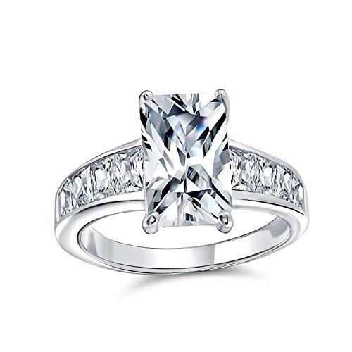 Bling Jewelry Estilo Art Deco 4Ct Cuadrado Asscher Corte Baguette Banda Lateral CZ AAA Solitario Anillo De Compromiso 925 para Mujer
