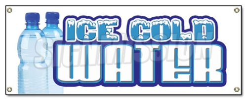 72' ICE Cold Water Banner Sign Bottled Water Signs Stand