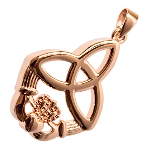 UPCO Jewellery Women 18K Rose Gold Plated Trinity Knot Irish Claddagh Celtic Pendant Necklace