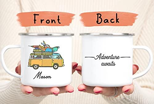 DKISEE Taza de esmalte personalizada para furgoneta, regalos de furgoneta, taza de esmalte, taza de campervan retro, taza de esmalte, taza de caravana