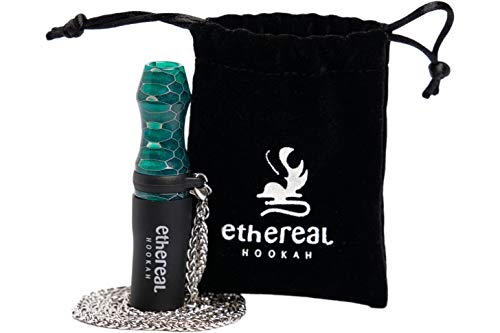 Ethereal Hookah Boquilla Premium reutilizable para Cachimba | Exclusivo accesorio para tu Shisha | Fabricada en Resina y Silicona | Incluye colgante de acero y bolsa de terciopelo (Verde)