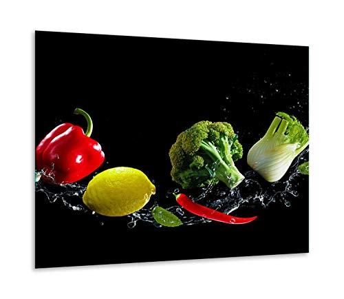 QTA | fornuisafdekplaat 60 x 52 cm keramische afdekking 1-delig universeel elekrofornuis inductie voor kookplaten fornuis spatbescherming snijplank zwarte groente