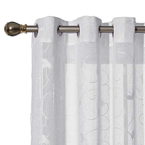 Deconovo Ösenvorhang Transparent Gardinen Wohnzimmer Vorhang Stickerei 245x140 cm Weiß Blumen 2er Set, Stoff, 245x140