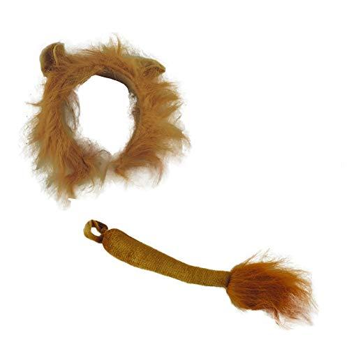 Children's Deluxe Lion Headband & Tail Costume Set Brown