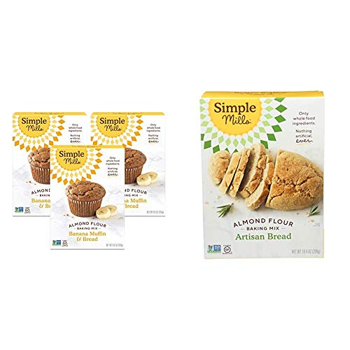 Simple Mills Almond Flour Baking Mix, Gluten Free Banana Bread Mix, Muffin Pan Ready, Made with whole foods, 3 Count & Almond Flour Baking Mix, Gluten Free Artisan Bread Mix