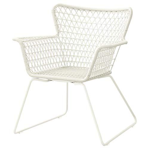 IKEA HÖGSTEN Stuhl mit Armlehnen, weiß im Freien