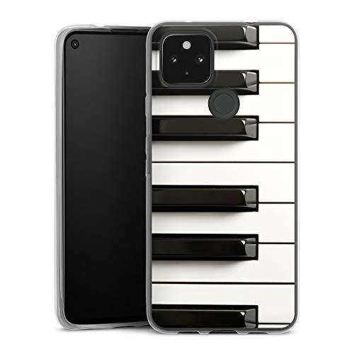 DeinDesign Slim Case extra dünn kompatibel mit Google Pixel 4a 5G Silikon Handyhülle transparent Hülle Klavier Musik Piano